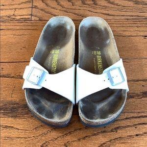 Birkenstock white glitter buckle sandals size 8